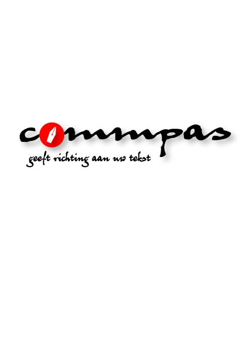 Logo Commpas, geeft richting aan uw tekst